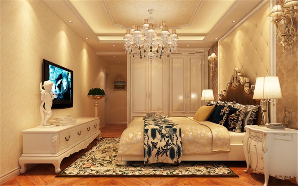 卧室的软包床头背景墙,造型精细整体的吊顶,搭配欧式木质家具体现主人潮流奢华的品味。