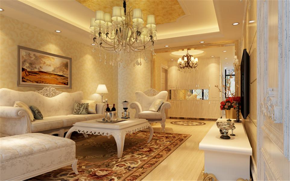 客厅的空间宽敞,浅色木质地板,配上欧式吊顶和个性家具摆设,使客厅看起来大气不失风情。