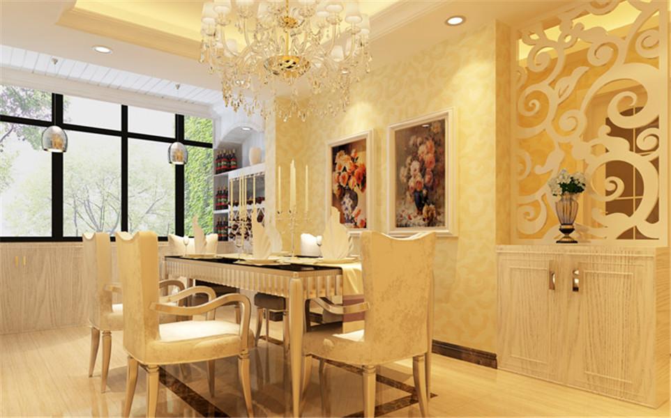 餐厅简洁现代化的吊顶,镂空餐边柜,都体现出空间的大气稳重,给主人温馨之感。