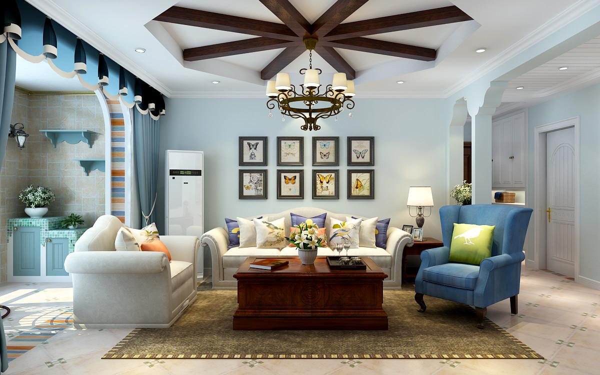 吊顶是客厅的点睛之笔,整体色调浅蓝色,搭配布艺沙发浓浓田园气息。