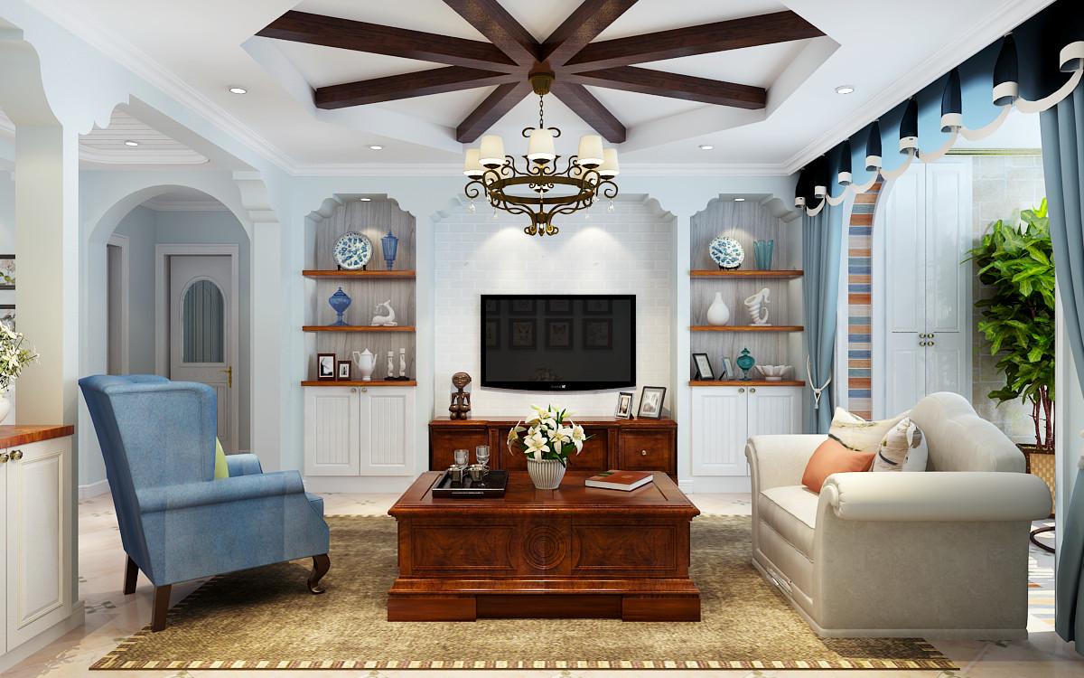 电视背景墙采用对称的造型,即美观又可以储物。
