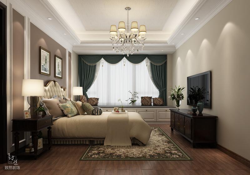 主卧对称性的背景墙在颜色上、造型上与整体想融合构成统一性,卧室的颜色搭配上能够看出设计师在此方面下足了功夫。