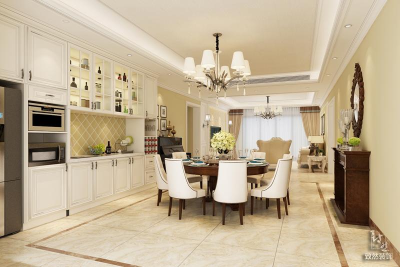餐厅与客厅风格相呼应,起到一个整体统一性,整墙的顶天立地储存柜具有强大收纳性,满足了业主的功能需求。