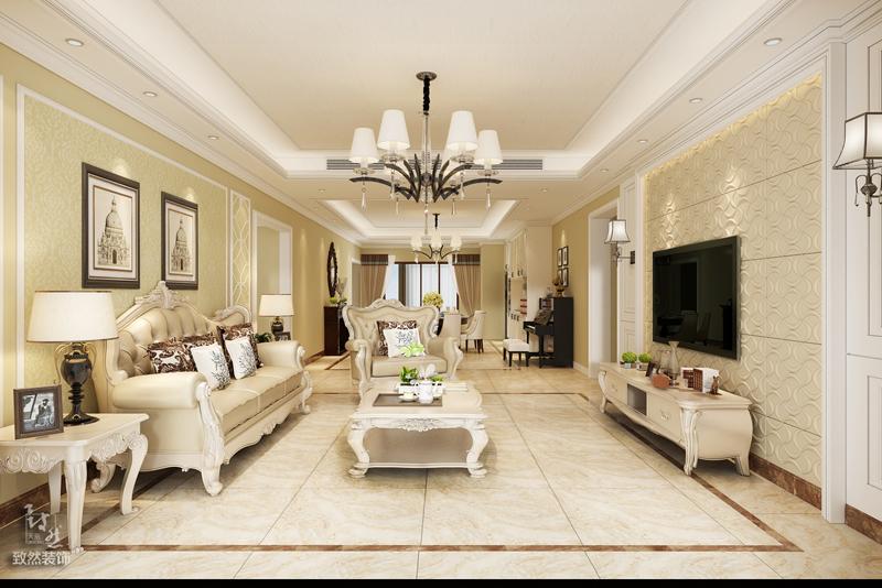 客厅是整体的一道主线,温馨明亮,吊顶与地砖相成相辅。