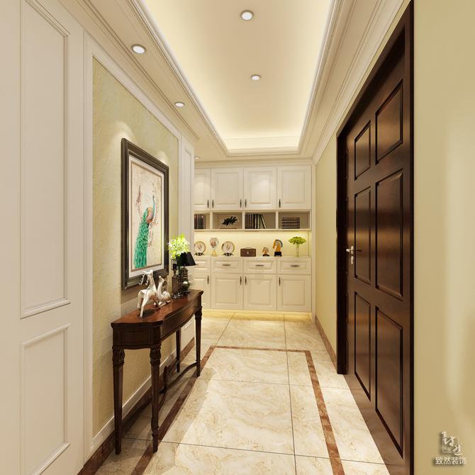 玄关处设计了玄关柜和玄关背景,使得进门多了一处景观,同时走廊处设计了组合柜,加强了储存功能。