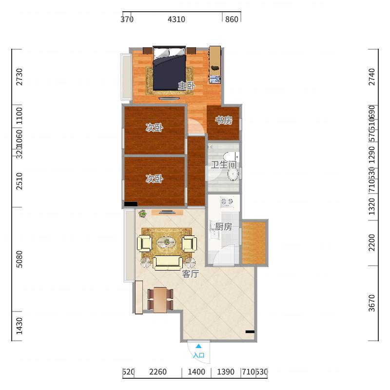 本案例是三居室,建筑面积122方,使用面积约110方,户型是南北通透,设计解决问题主要是卧室不够宽敞,而且光线也不够充足,客厅太大,太过空旷。所以我作出以下的修改,将卧室和客厅之间的墙往客厅移了60公分,卧室就简约搭配,看起来清爽,不纠结,客厅及餐厅都是沿用了繁简搭配,放置了一张古筝以增加空间感,使得客厅不会那么的空旷。
