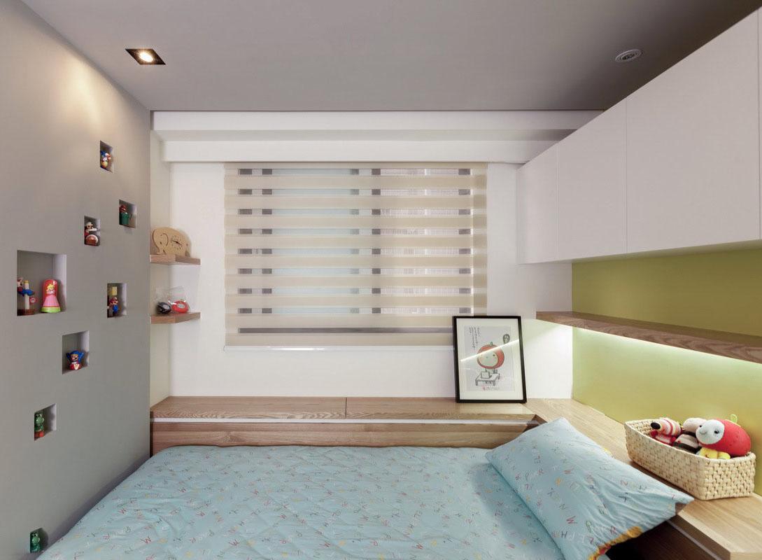 在床尾处设计收藏品的展示区,拥抱甜蜜故事入梦。