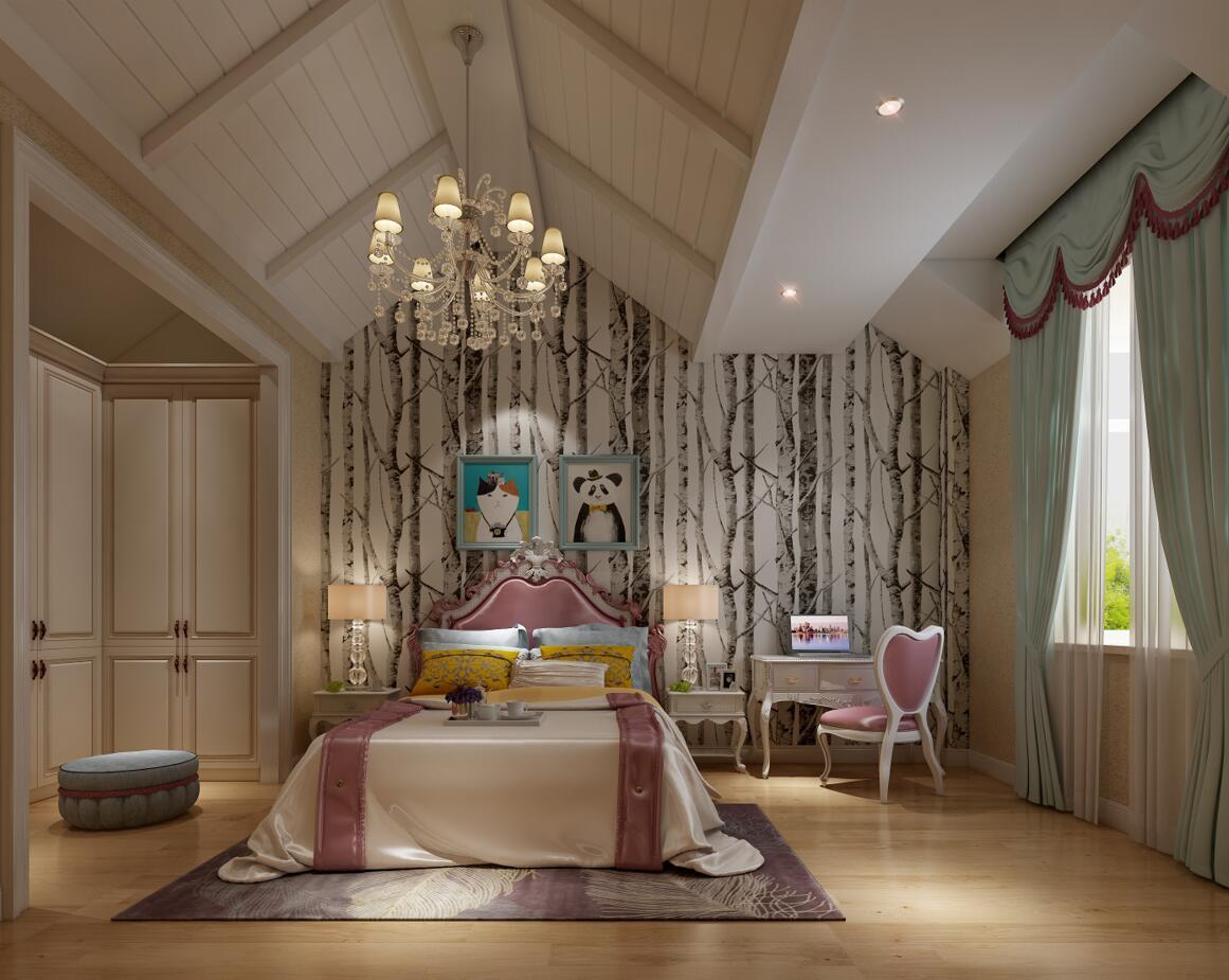 以白色为基调,搭配充满童趣的树林印花壁纸以及缤纷装饰,简单的空间并不单调,处处流露着时代现代、素雅温馨的气息。
