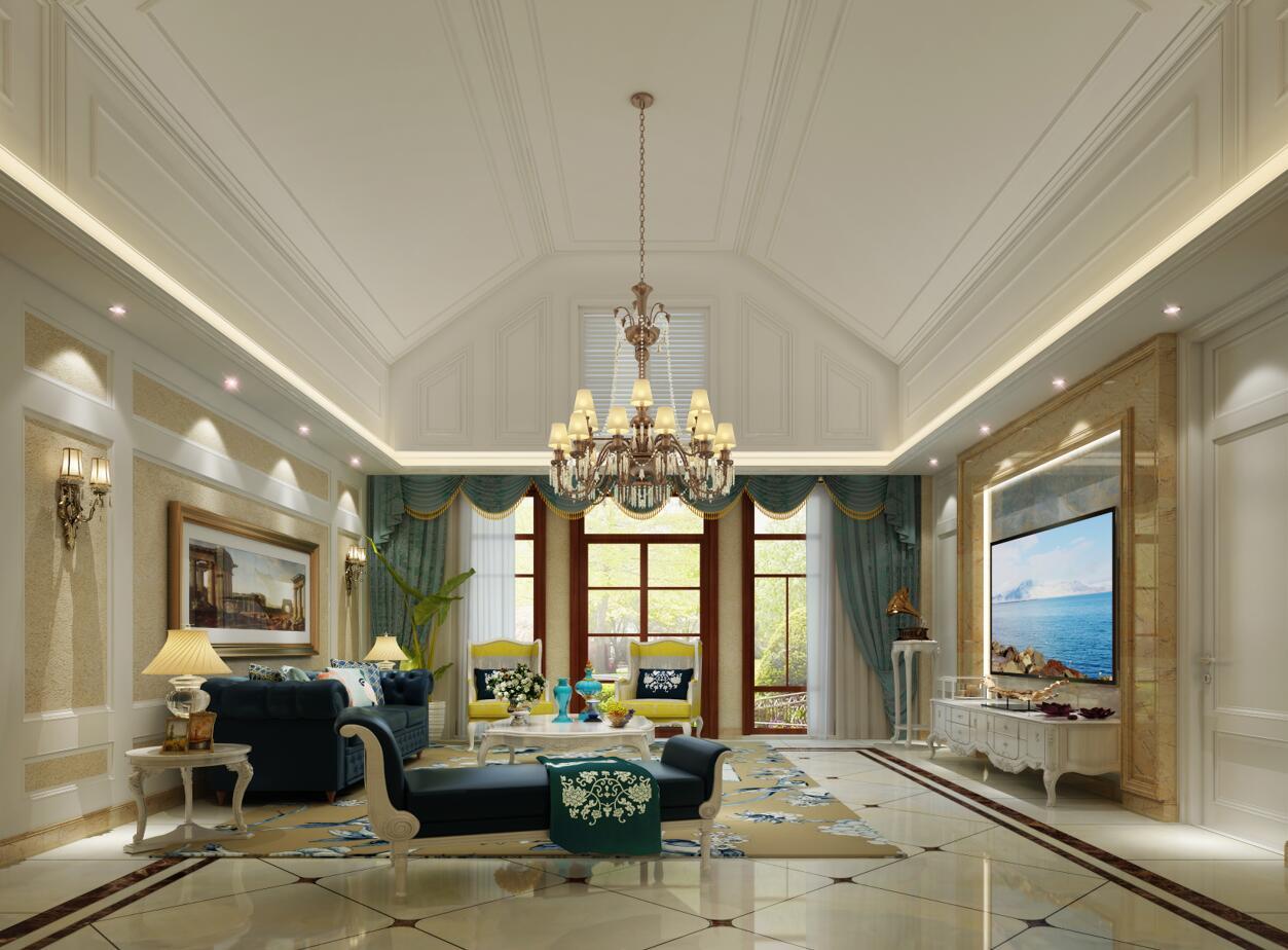 挑空的吊顶采用简单的石膏线条与沙发背景墙相呼应,客厅的房高。电视背景墙使用天然的石材装饰,凸显大气的同时又不会让人觉得繁复,客厅整体都没有太过复杂的装饰,设计师用不同材质和不同颜色以及软装相互搭配,是整个空间显得格外温馨!顶面加了一个可以打开的扇百叶窗,把自然光引进来。