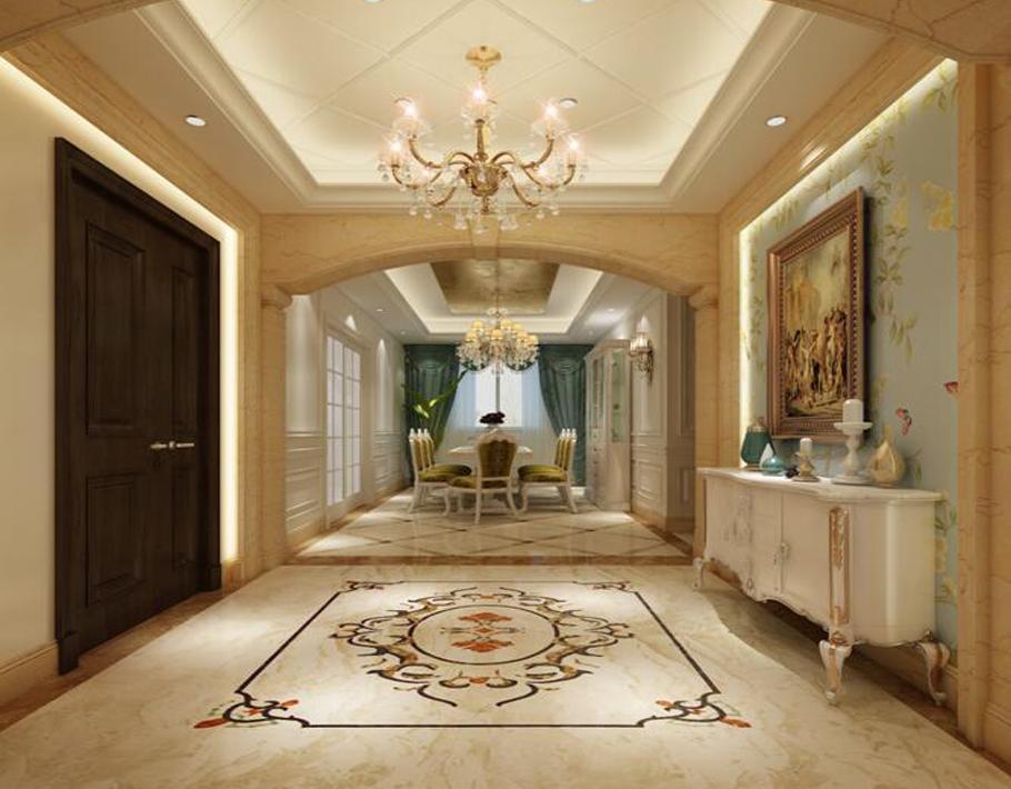 本案中设计师门厅玄关垭口采用了石材做了拱形门造型,把餐厅、玄关、楼梯区域巧妙的衔接、贯穿起来。