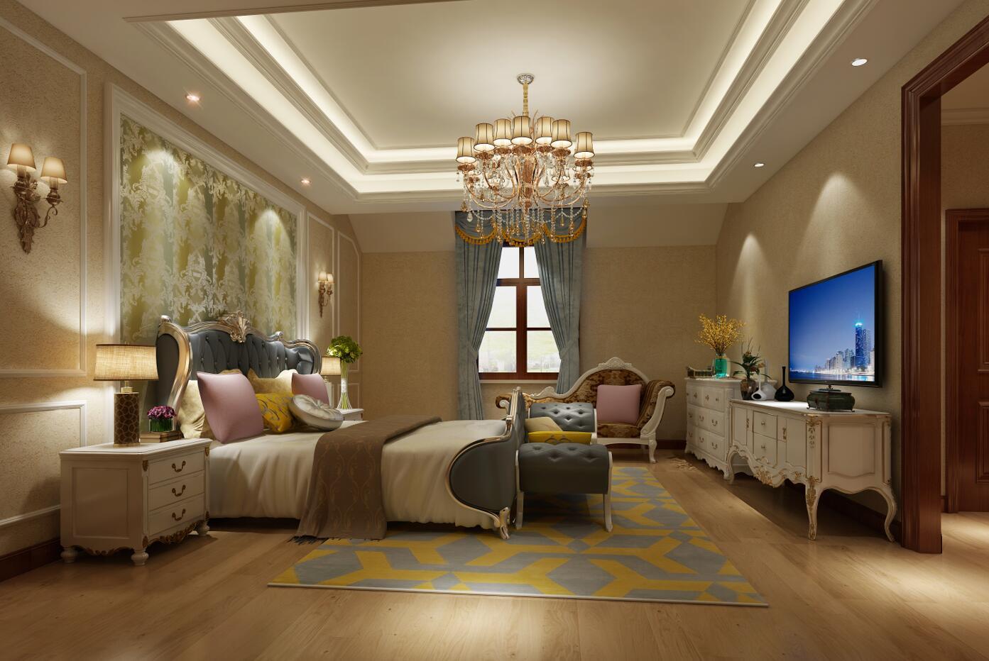 卧室不适合面积过大或过高,设计师把主卧合理的做了划分,每一个功能区都独立出来即:主卧门厅、卫生间、衣帽间、主卧室,又把这四个功能区合并到一个大的空间里保障了主人的私密性。