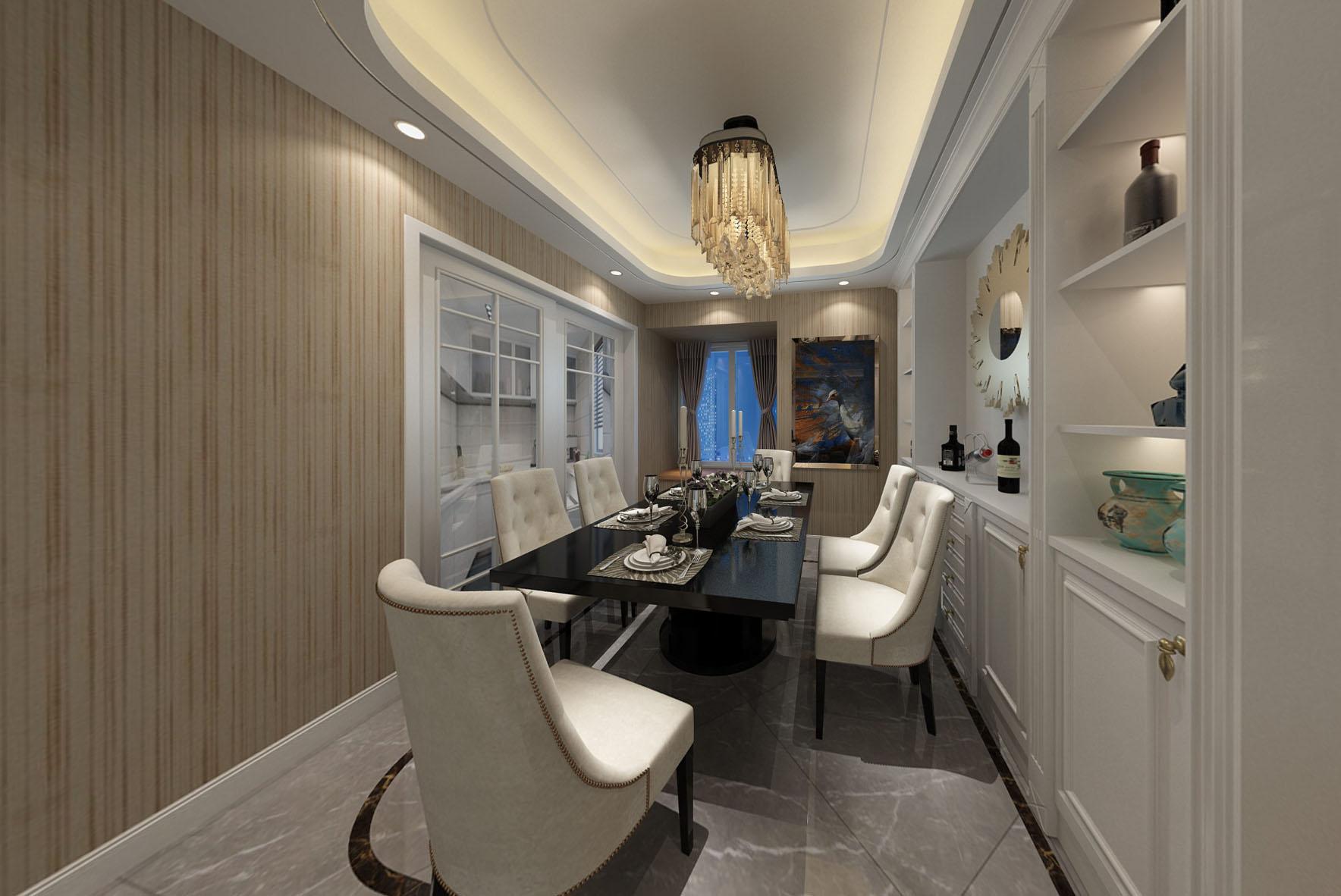 客餐厅分区明确,客厅沙发背景墙简约中透出华丽,地面与顶面装饰线扩大视觉范围,餐厅一整面酒柜的设计满足了业主大量的物品的存放。