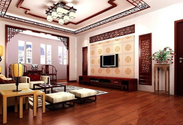 中式设计方案之客厅效果图,镂空的隔断和吊顶以及灯具显得空间韵味