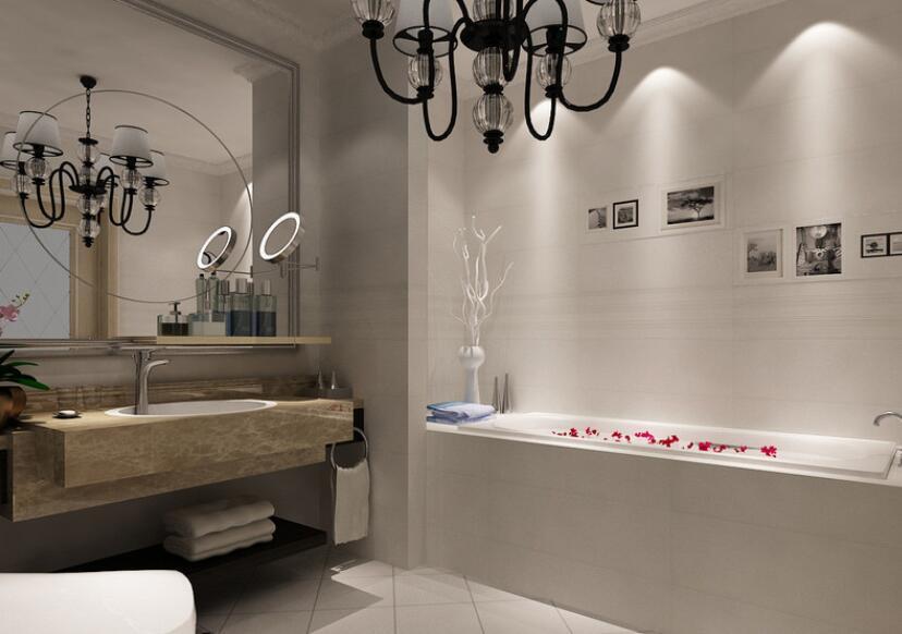 乳白色卫生间里,黑白影画随意嵌入墙面,灯光打照下充满艺术随性,带来慵懒的沐浴时光。悬空式盥洗台采用大理石材质,超大浴室镜折射着空间格调,简约空间充满时尚质感。