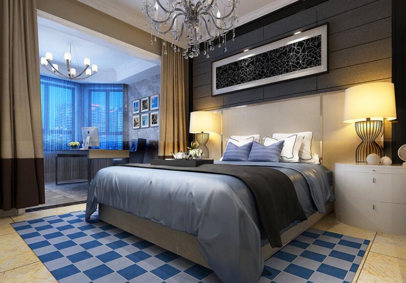 阳台的空间比较阔朗,卧室划分出不同的功能间。休憩区以巧克力色和蓝色营造出沉静的睡眠环境,马赛克地毯则带着几分活泼感。阳台则以观景、办公为主,水泥灰色系有助冷静、理智的思维。