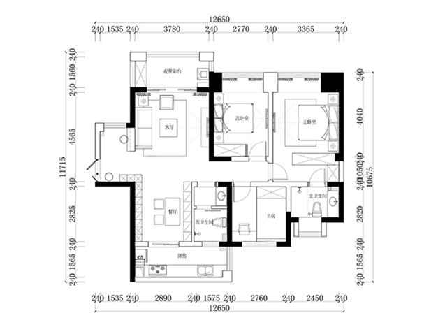 增源航都绿洲-三居室-128.00平米-装修设计