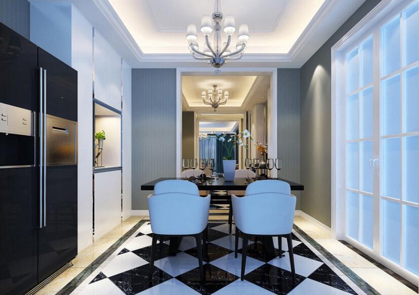 餐厅与玄关、客厅处于同一线条上,视觉上得以延伸。黑白几何地板呼应着餐桌椅、家电的色调,餐边柜选用白色高光烤漆饰面,与墨蓝墙面拼接,演绎出轻盈宁和空间格调。
