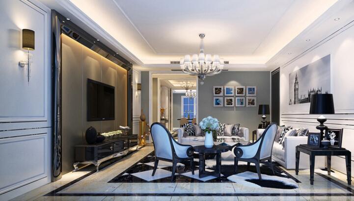 空间里白色的护墙板因为灯带的光线营造,透着轻盈通透。同色系的布艺沙发上,黑白几何靠包与地板色调呼应,扇形单人椅对称优雅,背景墙两侧深色镜面折射空间,光影内容形成互动。