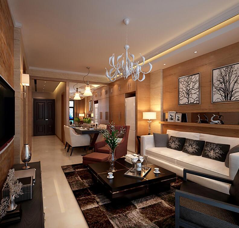 整体采用中性色调,既稳重大气,又耐用持久;木色与咖色方格地毯原野气息浓重,白色沙发调解着空间中的沉重感,保持着中性时尚感。