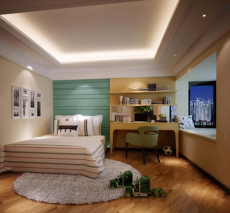 儿童房中地面利用线条元素加以装饰,蓝色背景墙增添几分青春气息,使得空间生动活现,自然无暇。