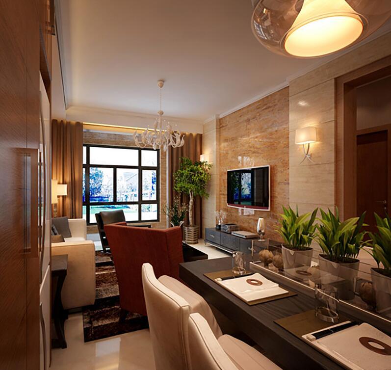 棕色石材墙高端大气,与客厅给人的感觉稍有不同;黑木餐桌搭配白色餐椅创造出黑白经典范儿;并排的绿植让生活变得更加惬意。