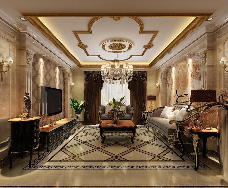 大理石拱门厚重塑造背景墙面,细腻花纹配合,复古典雅的雕花描金家具图片