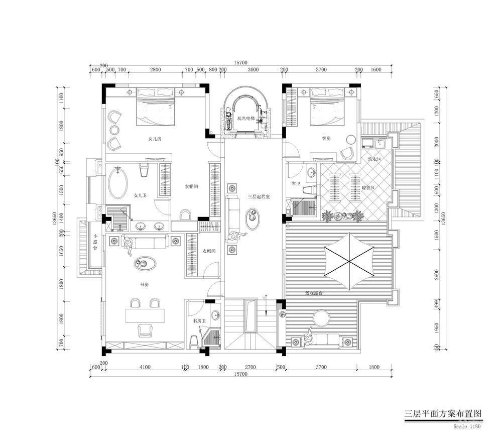 中海誉城别墅三层户型图