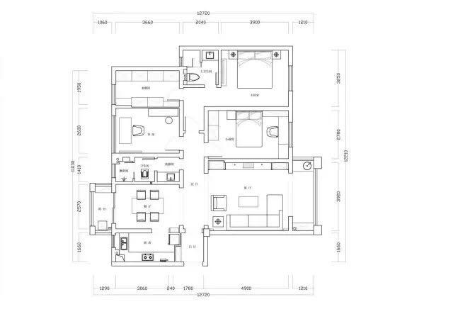 北辰三角洲 中式风格四居室 ---- 户型图