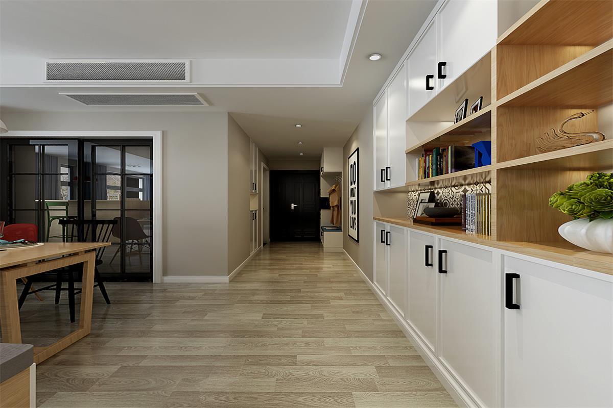 本案为万达茂二期118户型,整体设计为目前比较流行的北欧风格,整体设计以纯白为主要特征,注入一些灵动的家居元素。户型整体布局较为合理,通透的客餐厅给设计留下了很大的余地,电视墙,卡座,吧台的一体化设计,实用更出效果。没有油漆污染的原木家具和大量木地板的运用,让北欧风格更显得原生态。使家素净淡雅,富有格调。