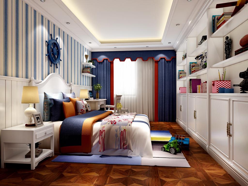 儿童房图,简单的白蓝相搭配,干净整洁,床头船把早造型显得俏皮一点,不会太呆板。白色护墙板蓝白竖条墙纸相搭配更有层次感。体现了一个小美空间。