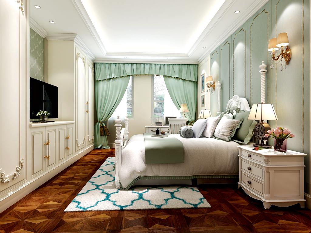 女儿房,整体色彩淡色,视觉清新,典型的一个公主房特点,但不过于复杂。
