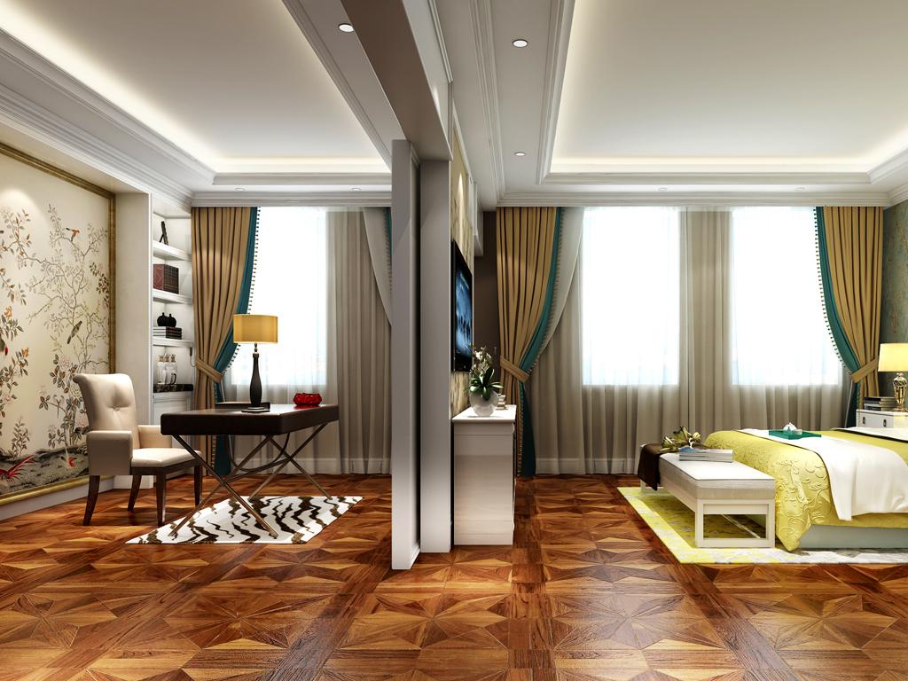 主卧室图采用的色彩比较清新,带有中西混搭风格。书房与卧室相容,分割不同空间风格案,是的整体更多彩化些。