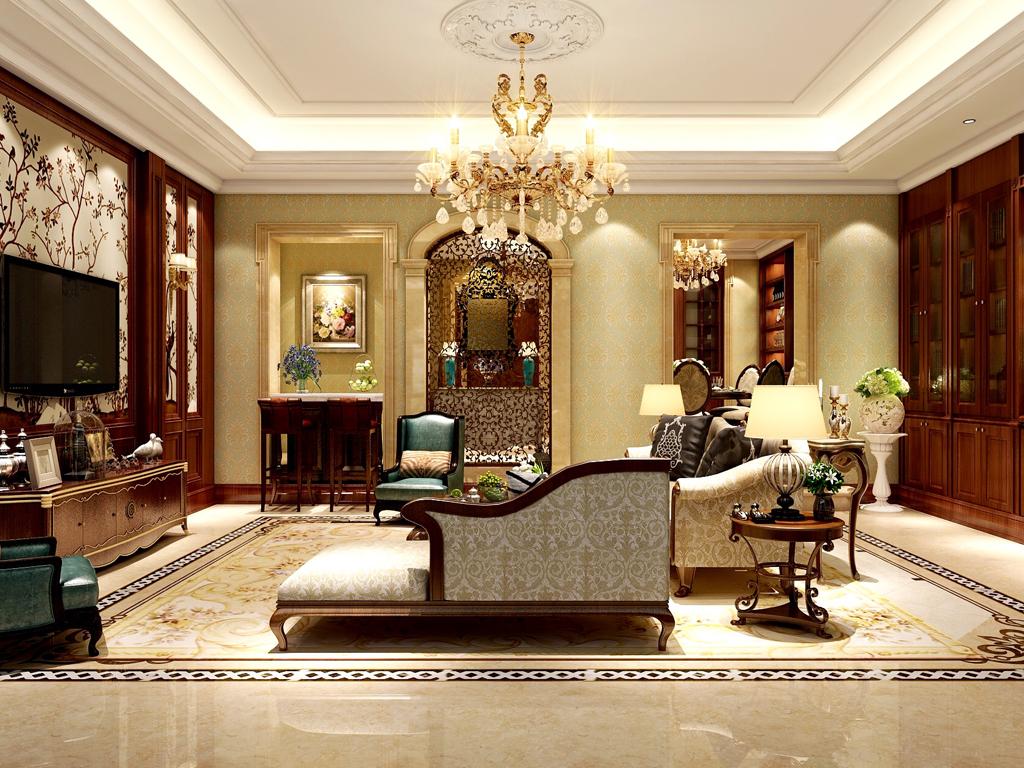 客厅选用色彩比较稳重,棕色木饰与壁纸的搭配显得稳重中带着风格的典型味道。