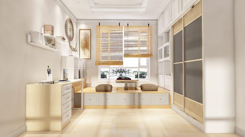 最后来到了卧室,卧室的设计与客厅是大相庭径的,木质的柜子,木质的床,一切都是木质的,一切就是那么原始而质朴