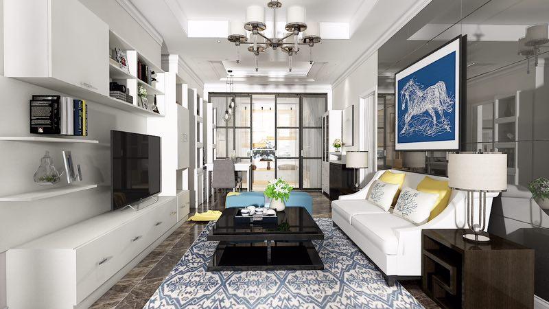 阳光温柔的洒在白色的沙发上,光线明亮的充满整个空间,美好的一天就从这里开始,开启一天多姿多彩的生活