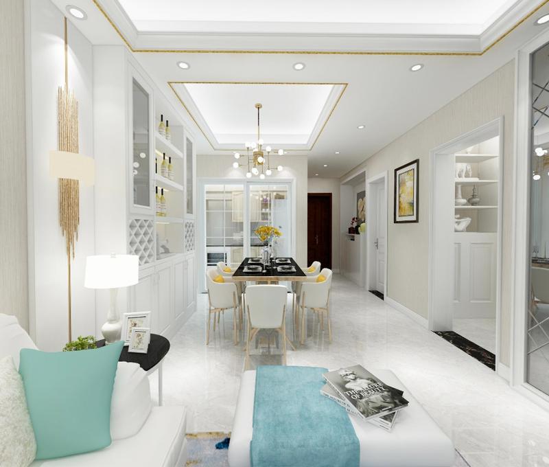 主卧定制了一个白色顶置的衣柜,高档大气,非常美观实用。