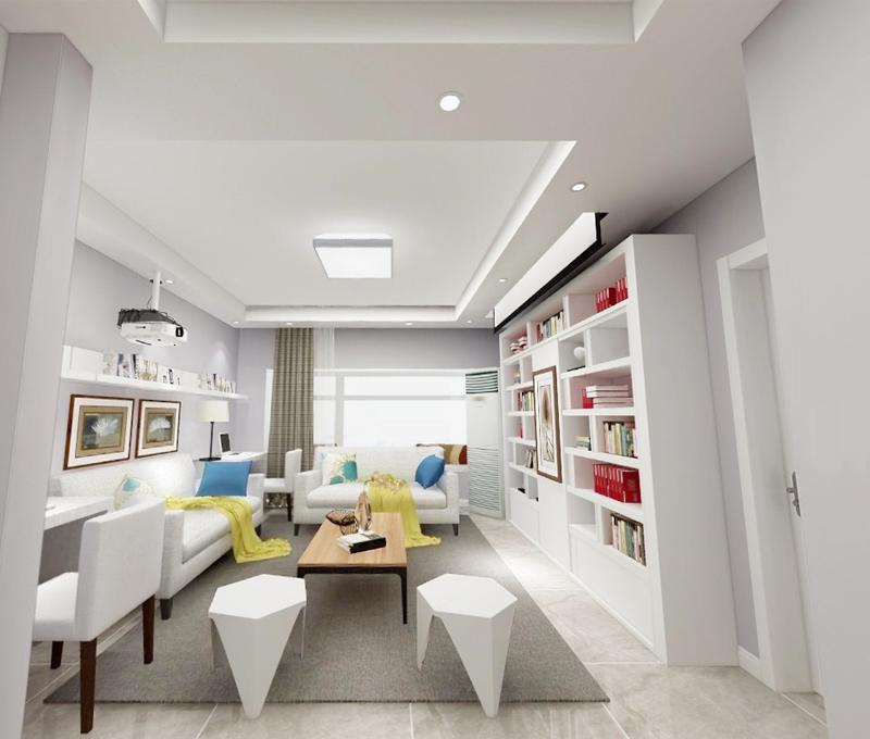 入户玄关的位置做了2低2高的柜体,抽屉的位置可以放置鞋柜,高柜可以放置衣物