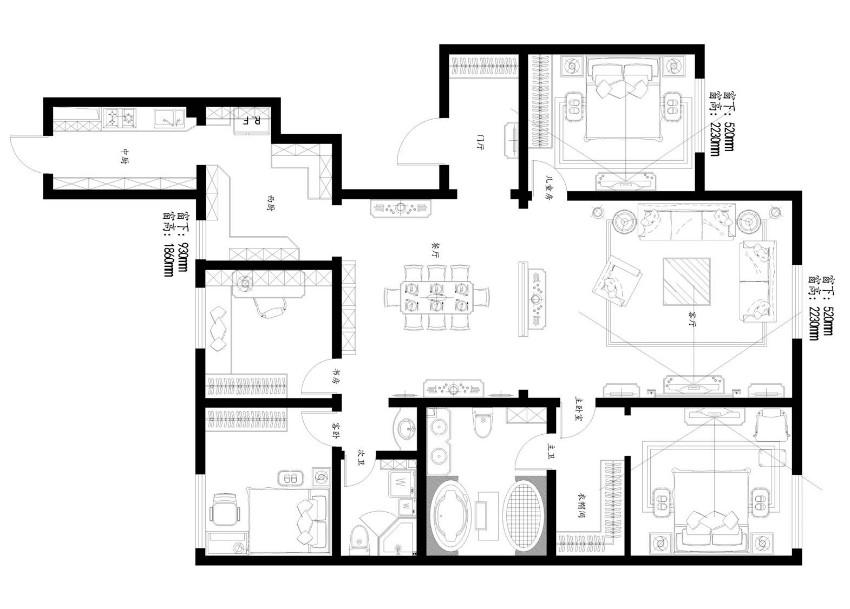 户型优点: 1、房屋格局比较合理,住宅使用功能齐全,穸间感觉通秀,不需大量拆改。 2、采光好,通风条件好。 3、空间动线明确,动静分区非常符合日常生活习惯。 户型缺点: 1、储物空间较少。 2、没有洗衣晾衣空间。 3、客卫生间过于不足。 4、厨房与餐厅连贯性不强。 5、客厅与餐厅过于空旷。