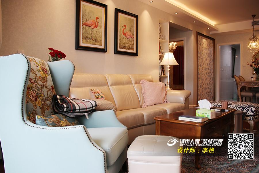 烟台城市人家华润中心95平现代法式风格装修实景图,咨询电话:134-6562-3418(微信同号)