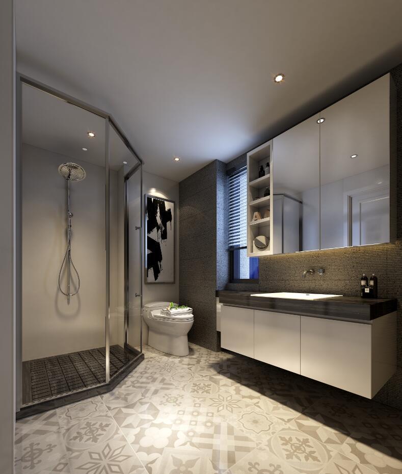 对比强烈的黑白色调,让浴室的整体搭配都鲜明了起来。