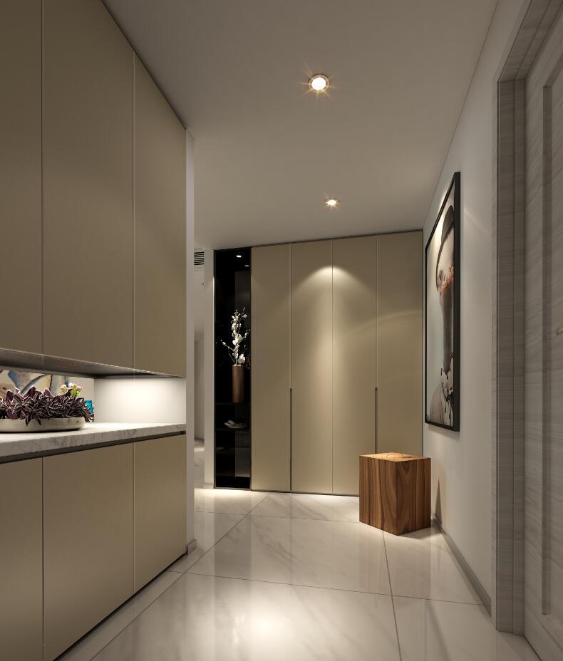 玄关采用暖色系的柜体颜色,让忙碌一天的您开门的瞬间就感受到家的温馨。