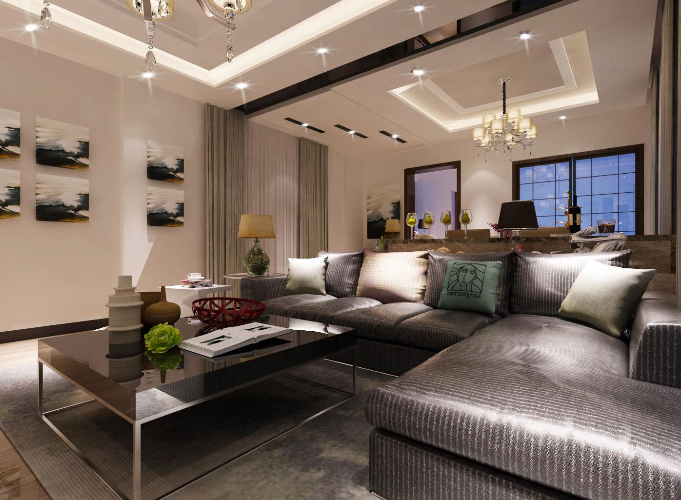 沙发的选择根据主人的喜好,设计为冷色系,和整体的家装相结合!