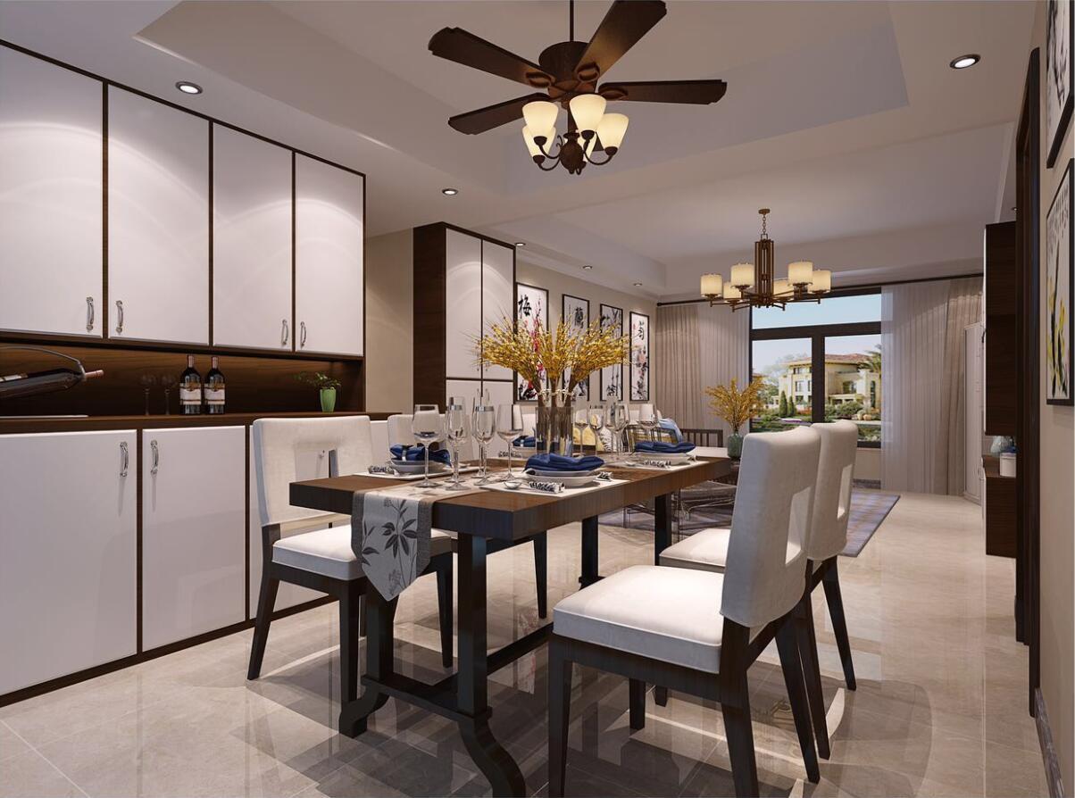 中国风的构成主要体现在传统家具(多为明清家具为主)、装饰品及黑、红为主的装饰色彩上。室内多采用对称式的布局方式,格调高雅,造型简朴优美,色彩浓重而成熟。