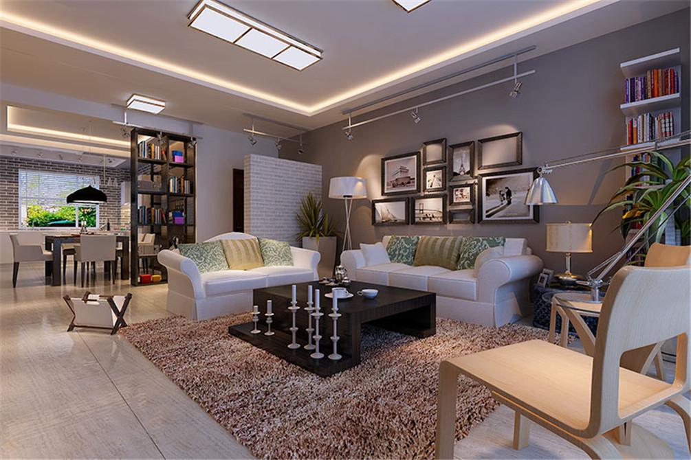 现代简约三居室客厅地板装修效果图欣赏