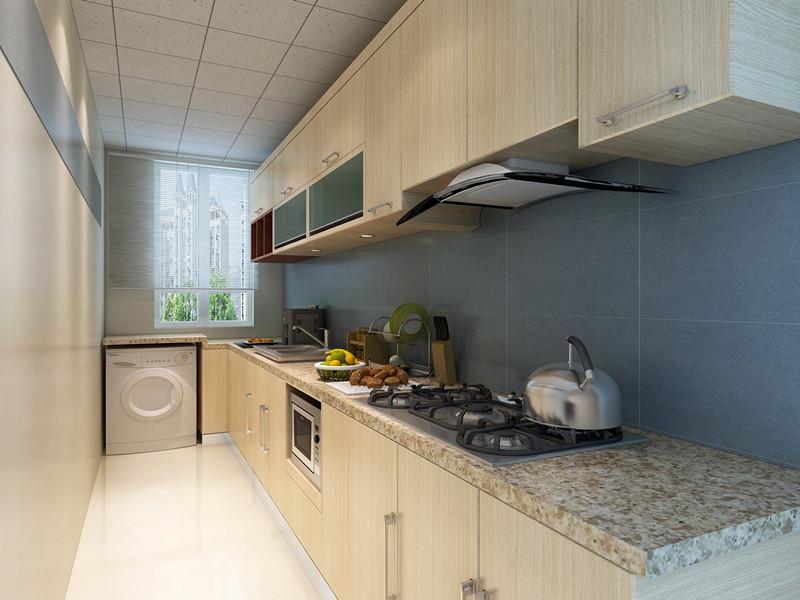 洗衣机放在了厨房 直接做在了台面下面,和整体橱柜完美结合在一块 既省空间也美观
