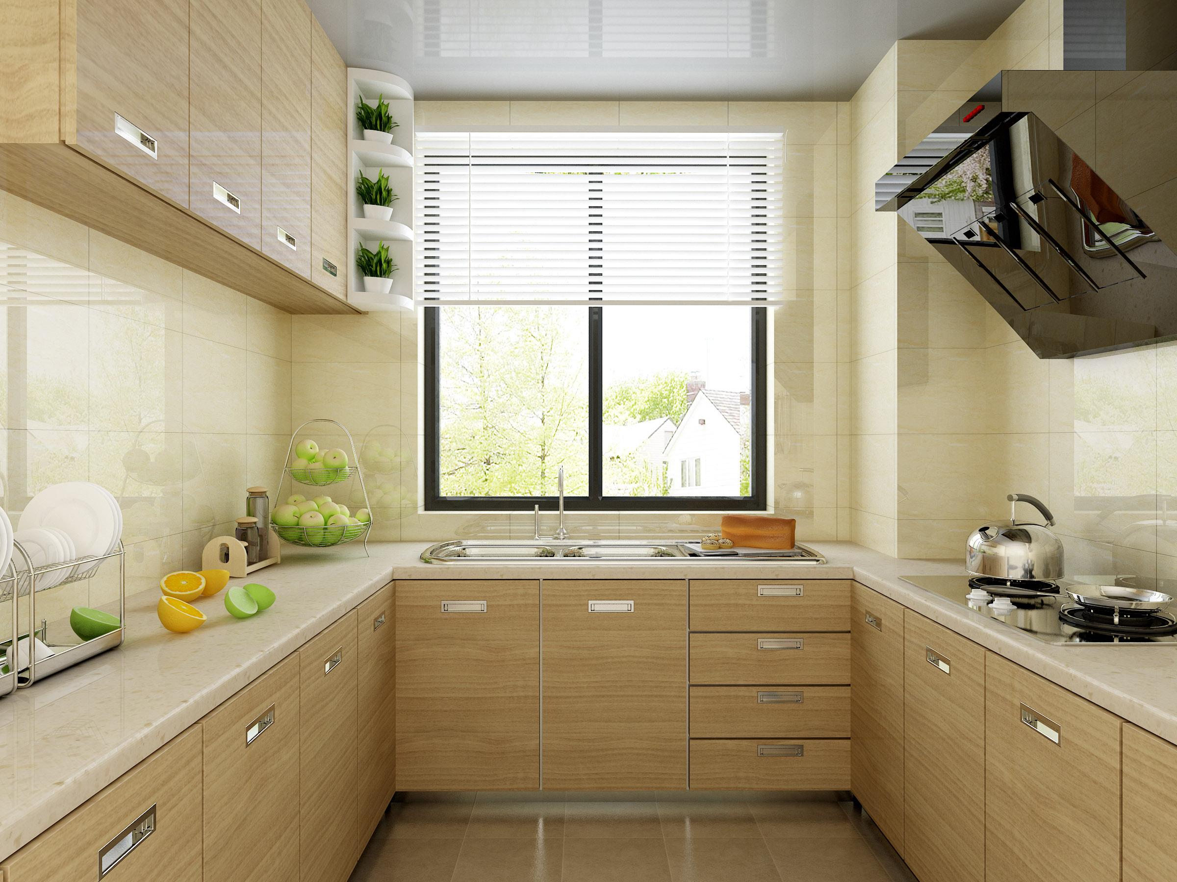 暖黄色木纹纹理橱柜门板加上白色台面