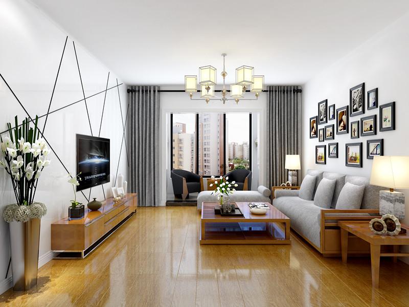 沙发背景墙的黑色相框与电视背景墙的黑色直线相呼应互为点缀色增加整个空间的现代感!