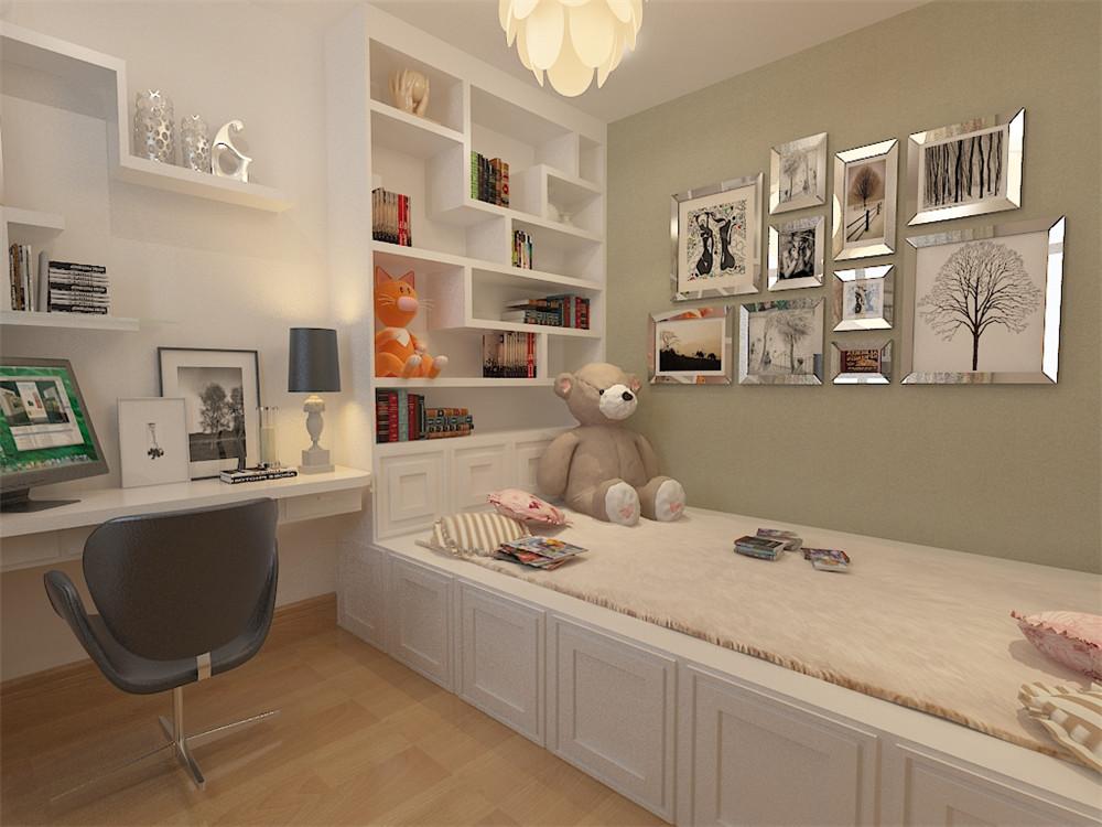 主卧采用强化复合地板,有飘窗,壁纸采用浅黄色欧式壁纸,使整体休息环境更为舒适;次卧采光充足,但面积较小,做了一个日式榻榻米的风格,地面采用强化复合地板,顶面为石膏板