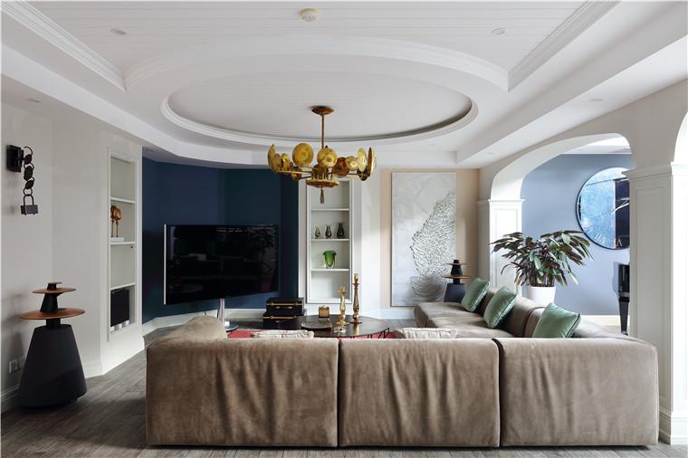 现代简约五居室客厅壁纸装修效果图欣赏