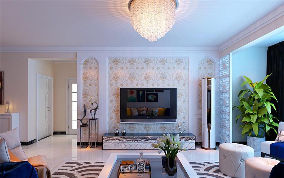 影视墙用石膏板做了造型,贴了淡黄色的壁纸,简洁又大气.